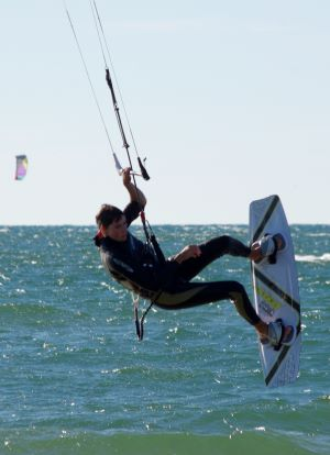 Jake M rides without a kiteboard leash