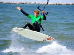 Kiteboarding with a wetsuit