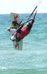 a kiteboarding backroll