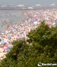 Crowded beach at Grand Haven