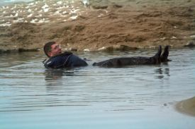 Testing a drysuit in the icy water