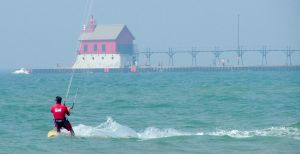 Kiteboarding downwind of a pier