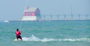 Kiteboarding downwind of a pier