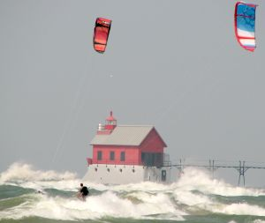 Kiteboarding in big waves