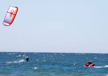 Kitesurfing with a SeaDoo