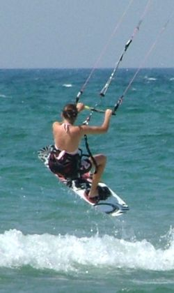 Don't let Lisa's petite size fool you- she's a great kiteboarder!