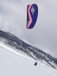 Snowkiting with a Bow kite