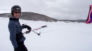 Always wear a helmet while snow kiting
