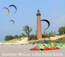 kiteboarding kites at Little Point Sable
