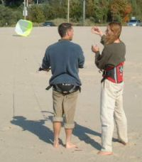 learning to fly a trainer kiteboarding kite