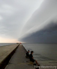 Shelf cloud over the Grand Haven Piers. photo by Tony Heydenburg