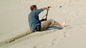 Sliding during the power stroke of a trainer kite
