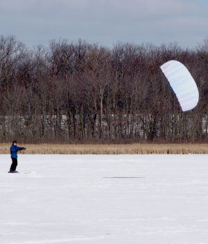 Snow kiting with a trainer power kite