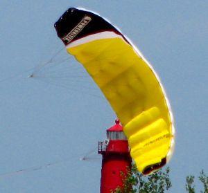 Flying a trainer kite for kiteboarding