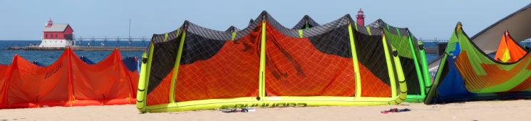 Kiteboarding gear at the beach