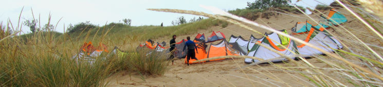 Kiteboarding kites pumped up on the dune