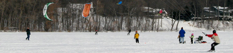 Snowkiting on frozen Reeds Lake