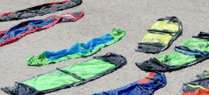 Kiteboarding kites ready to pack up