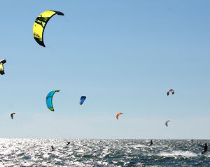 Kiteboarding on a windy day