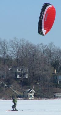 snowkiting with the Ozone Frenzy power foil kite