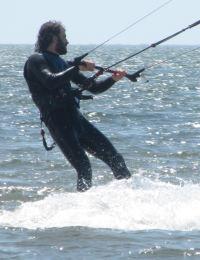 Tucker is a lightweight kiteboarder
