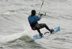 Kiteboarding with hood, booties, and gloves