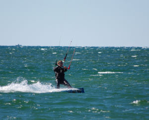 Kiteboarding with small whitecaps